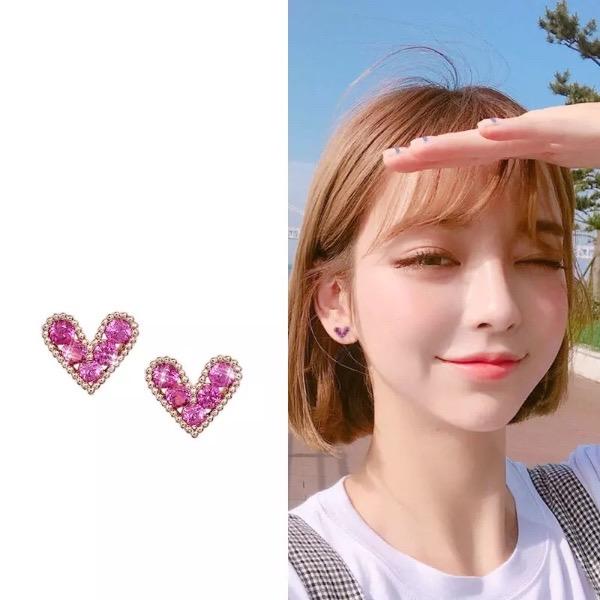mini pink crystal heart rose gold earrings