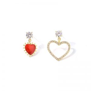 Red and gold sparkle dangle earrings