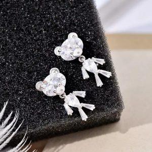 Sparkling crystal teddy dangle earrings