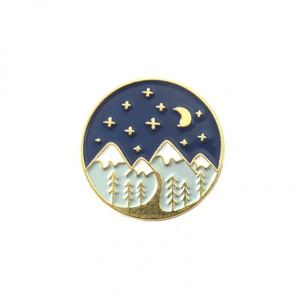 Starry night landscape pin