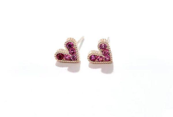 Mini pink crystal rose gold earrings