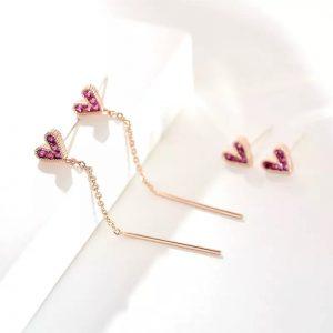 Mini pink crystal heart rose gold dangle earring
