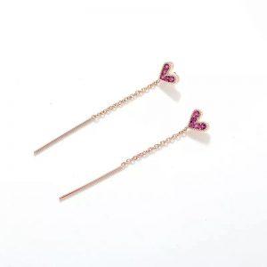 Mini pink crystal heart rose gold dangle earrings