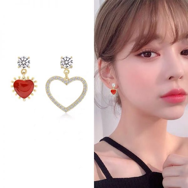 ed and gold sparkle dangle earrings