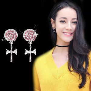 Super bling crystal lolly dangle earrings