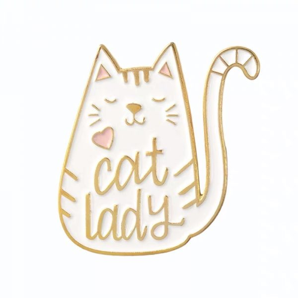 White cat lady pin
