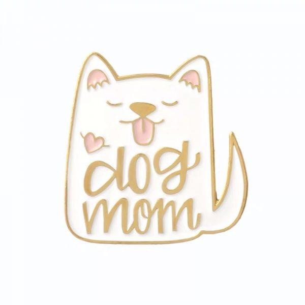 White dog mom pin