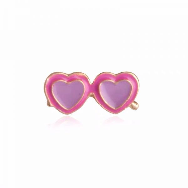 Pink heart shape sunglasses pin