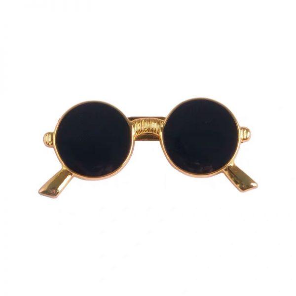 Round gold frame sunglasses pin