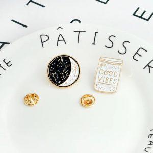 Starry night circle pin